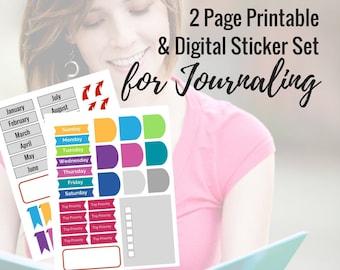 Bullet Journal Printable & Digital Sticker Set set -Days, Months, Tabs, Banners, Boxes, etc - in png, pdf, svg, jpg