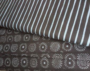 Marimekko Black Nadja and black gray Piccolo cotton fabrics, half yard each, total one yard,  Finland