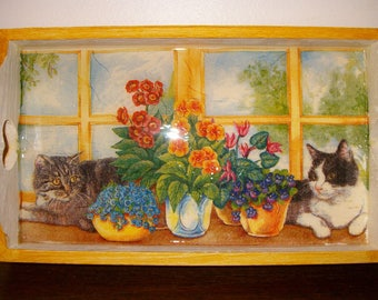 "Small tray deco ""cats at window""."