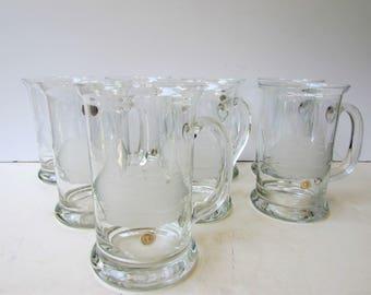 Vintage Barware - Set of 8 Beer Mugs  - Etched Glass - Schooner - Tall Ship - Large Pilsner Mug - Romania - Glass Mugs -