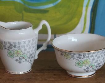 Vintage 1950's English Royal Stafford  Bone ChinaTea cups and saucer saucers, sugar bowl and creamer (bulk lot)