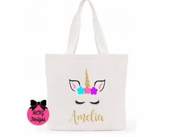 Unicorn Face Personalized Glitter Tote Bag•Unicorn Purses•Unicorn Gifts•Canvas Tote Bag•Unicorn Birthday•Unicorn Halloween Candy Bags•Ballet