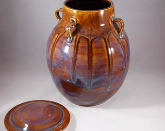 Ceramic Jar-Handmade Jar-Pottery Jar-Drippy Pottery-Artisan Pottery-Unique Jar-Statement Piece-DirtWorks Ceramics