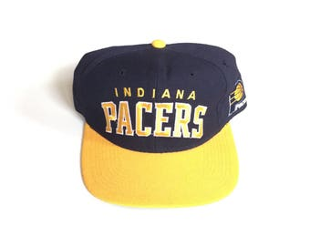 90s STARTER Indiana Pacers arch nba basketball Snapback hat blazers Snap back Strapback hat One Size Adult Unisex 100% WOOL