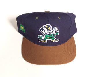 Vintage University Of Notre Dame Fighting Irish American Needle CCM Blockhead snapback wool