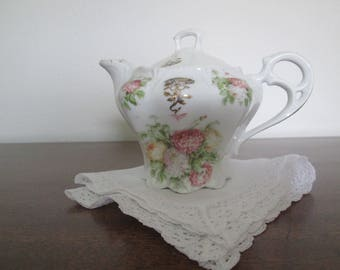 Antique Victorian/Edwardian Individual China Teapot/Flower Transfer/Clover Circa Early 1900's   #18019