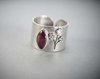 Sterling Silver and Garnet Ring with flowers