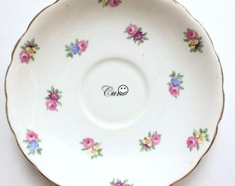 C*nt: upcycled, altered, repurposed vintage Coclough plate with pink roses