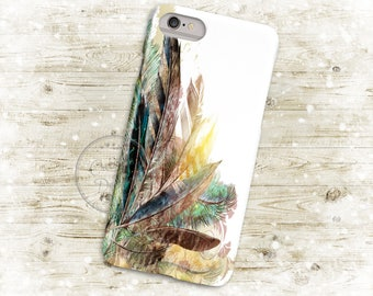 Boho Feathers Watercolor 3D Phone Case, Iphone 6 7 7+ Samsung Galaxy S5 Thin Hard Case, Personalized Mobile Full Wrap, Dreamcatcher