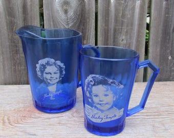 Vintage 1930's Hazel Atlas Shirley Temple Cup and Creamer, Cobalt Blue