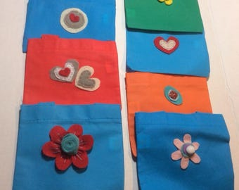 Lot of 11 Pieces Mini Tote Bags with Handmade Felt, Buttons