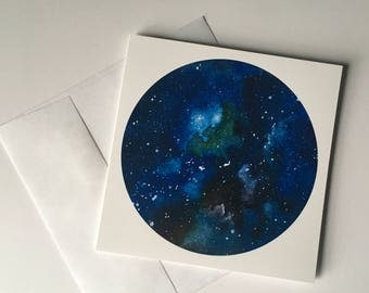 Green and Blue Nebula Space 5x5 Greeting Card All Occasion Card