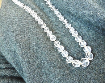 Long Cut Crystal Graduated Bead Necklace