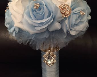 Quinceniera bouquet light blue/ white/ gold! Can me made in any color combination! Simple, ellegant and classy!