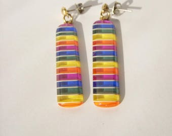 Vintage Funky Rainbow Layer Dangle Pierced Earrings 80s retro style