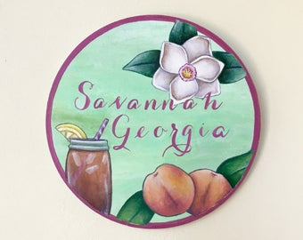 Savannah Georgia Art / Handmade Southern Wall Art / Rustic Southern Art Decor / Handpainted Georgia Wooden Wall Art / Savannah Georgia Art