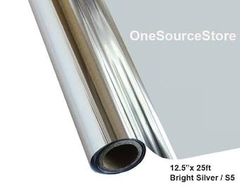 "HTV Textile Foil / 12.5 ""x 25 ft / Bright Silver / S5"