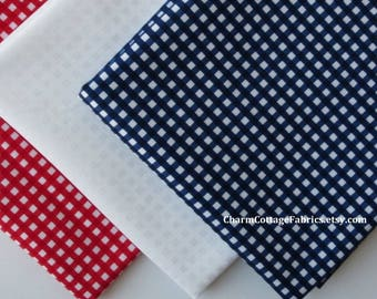 Red, White, & Blue Fat Quarter Bundle of 3 Quilter's Cotton Riley Blake Designs Small Gingham Checks 1/8-inch Patriotic Fat Quarter Bundle