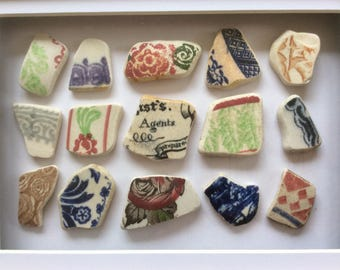 Beach pottery art, seaside decor, Scottish sea glass picture, framed ceramic pieces