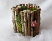 Customizable wedding card box, rustic wedding moss card box, wedding card basket, personalized wedding card basket with flowers you choose
