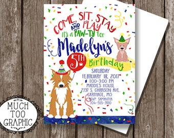 Dog Birthday Party Boy or Girl / Dog PAW-ty / Puppy Party Invitation / Adoption Party / Primary Colors Puppy Birthday Party / Come Sit Stay