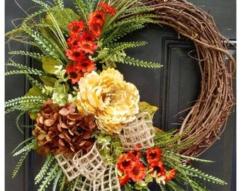 FALL Door Decor, Everyday Wreaths, Wreath for Front Door, Wreath, Hydrangea Wreath with Peony and Greenery
