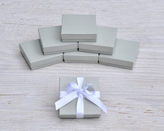 20 Light Grey 3.5x3.5x1 Glossy Gift Jewelry Boxes Square Retail Presentation with Cotton Fill