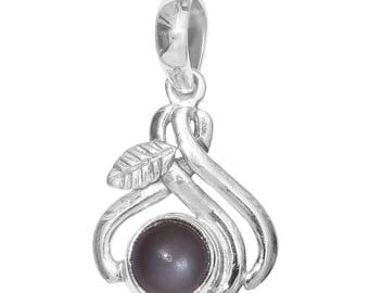 Titanium Moonstone Round Cabochon Sterling Silver Pendant without Chain TGW 1.70 cts.