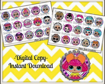 LOL Surprise Dolls- glitter - includes Both sheets -INSTANT DOWNLOAD - Bottle cap Images - Cake toppers  - Bow Center