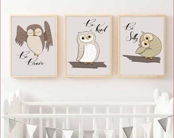 Nursery Wall Art - collection of 3 - Owl