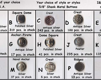 "30 Metal 5/8"" Buttons Silver, Pewter, Antique-Silver 15mm School Plays Buttons- medieval clothing Renaissance Faire Clothing"