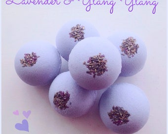 Lavender and Ylang Ylang bath bombs, Lavender bath bombs, Ylang Ylang bath bombs, Relaxing bath products, Scented bath products,