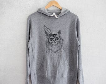 Chloe the Tabby Cat Hoodie Grey French Terry