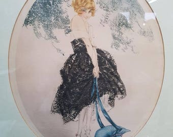 Art Deco period French LOUIS ICART etching Le Bonnet Bleu circa 1930s
