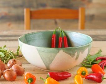 Ceramic big bowl, green salad bowl, serving bowl, large fruit bowl, ceramic soup bowl, pottery bowl, ceramic and pottery, large bowl, xmas