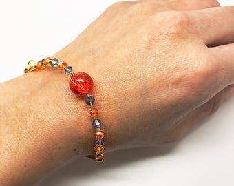 Bright Orange Bracelet, Tangerine Bracelet, Orange Tangerine Bracelet, Carrot color bracelet, Salmon color Bracelet