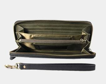 Montage Zip Leather Wallet with Wrist Strap - Dark Olive Green