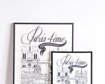 Illustration of Paris IV - series * Travel With Me *. Black and white. 32 x 45 cm