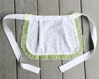 Eyelet White Cotton apron with Green Ribbon Trim, Costume Apron for Play, White French Maid apron Lace Ruffle Apron Old Fashioned cafe apron