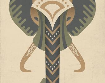Geometric Elephant Illustration Art Print 5x7, Art print, Animal Art, Digital Illustration