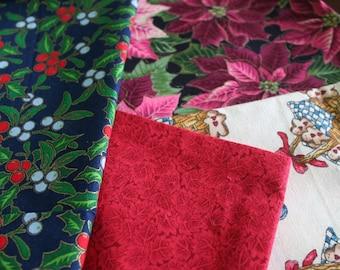 SET of 4 Reusable Cloth HOLIDAY/XMAS Gift Bags!