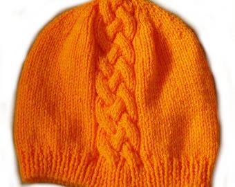 Bonnet orange cable - 6/12 months