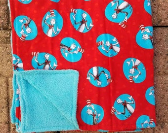 Dr. Suess cat In the hat one of a kind baby blanket