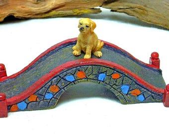 MINIATURE COBBLESTONE BRIDGE Fairy Bridge Miniature Displays Fairy Accessory Inside or Outdoor Durable Red and Blue Puppy Option