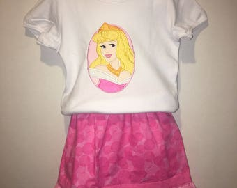 Princess Aurora Sleeping Beauty Boutique Birthday Party Embroidered Shirt T-Shirt Twirl Twirly Skirt Set Outfit! Optional Bow Available!