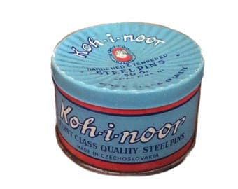 Vintage tin round collectible Koh-i-noor pale blue tin can, Steel-pins vintage container collectible R:1739