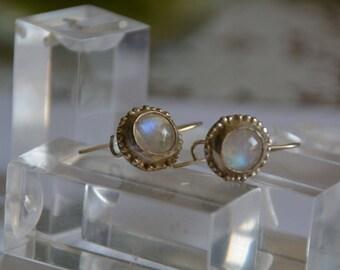 Rainbow moonstone earrings, silver moonstone earrings, drop moonstone earrings, antique earrings, June birthstone earrings Moonstone jewelry