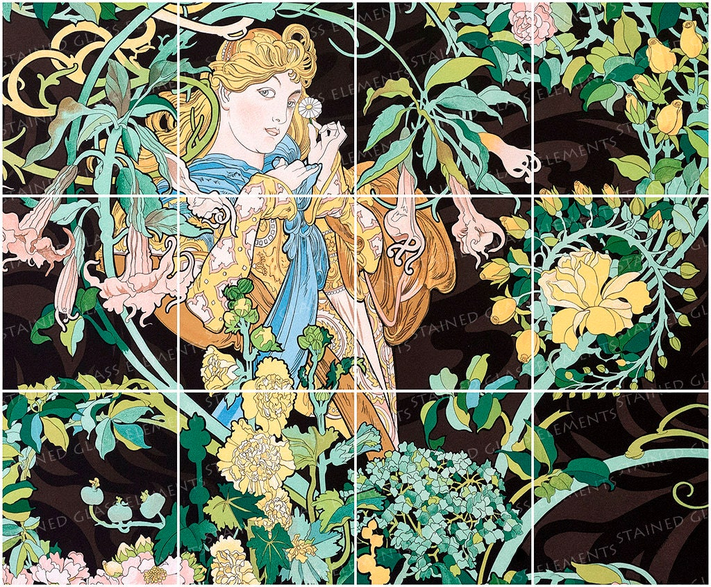 Mucha ceramic decals glass tiles ceramic tiles glass for Art nouveau tile mural