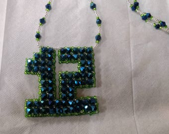 Seahawks 12th Man Crystal Necklace