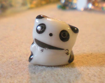 A PANDA bead porcelain white and black 18mm x 15 mm